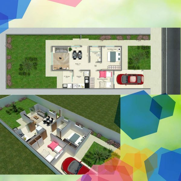Planta 2 quartos - casa nova em UDI