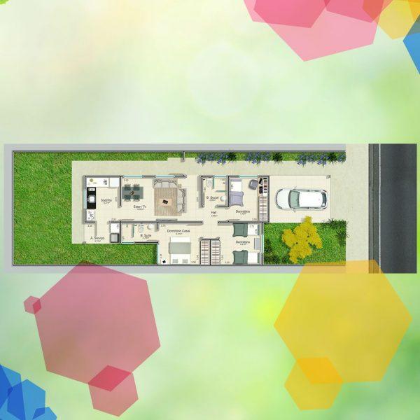 Planta 3 quartos - casa nova em UDI